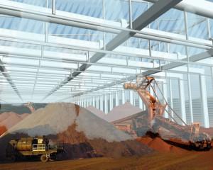 una copertura d'aria per i parchi minerari Ilva